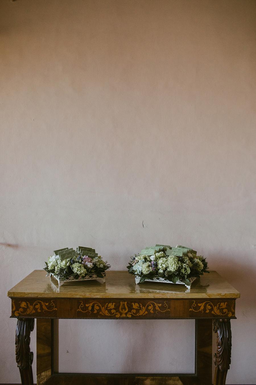 tableau de mariage con ortensie