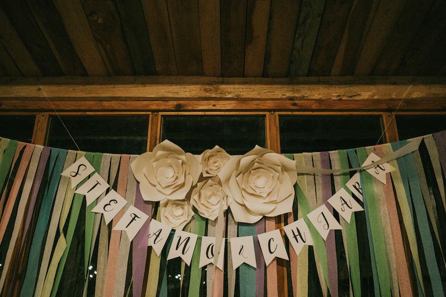 sfondo Photo Booth con nastri colorati