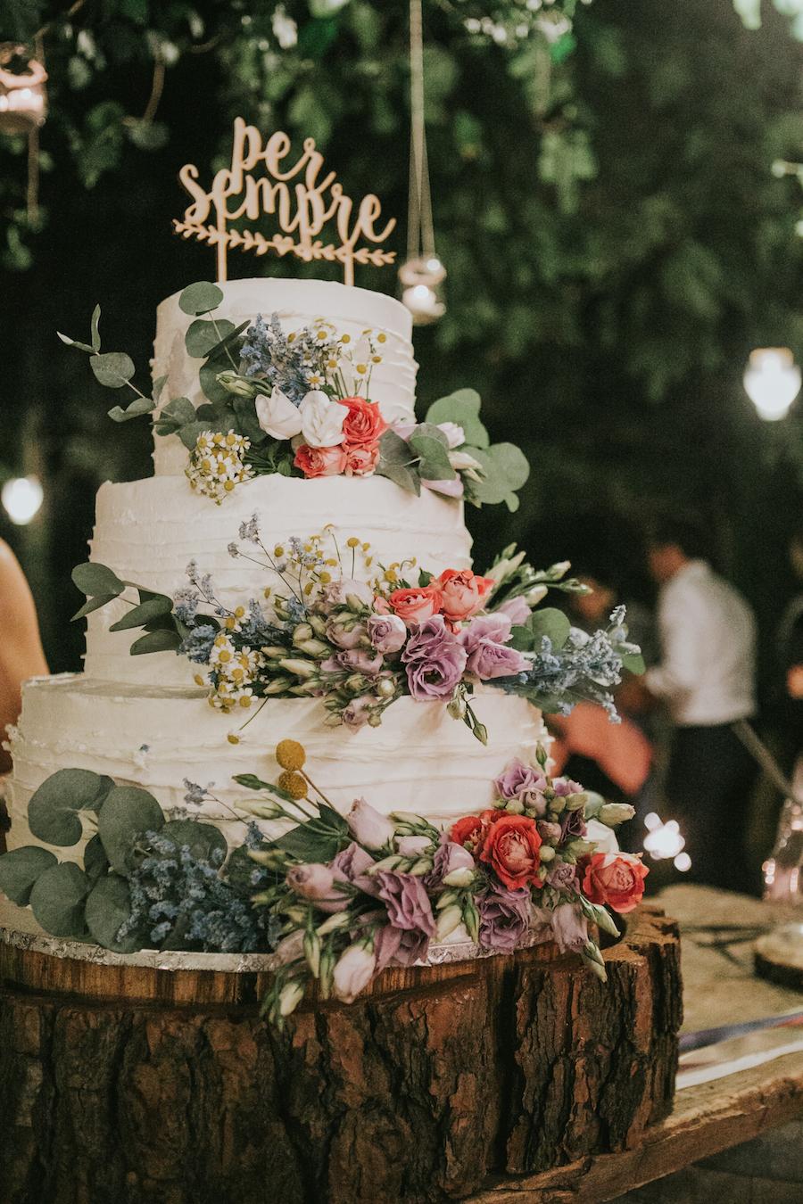 wedding cake con fiori