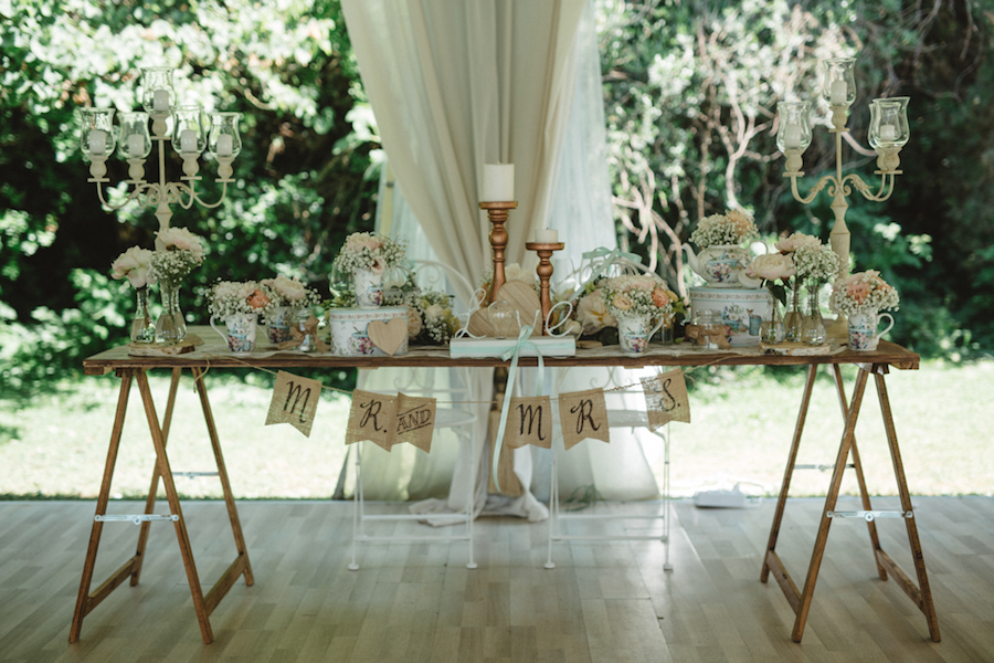tavolo sposi matrimonio vintage