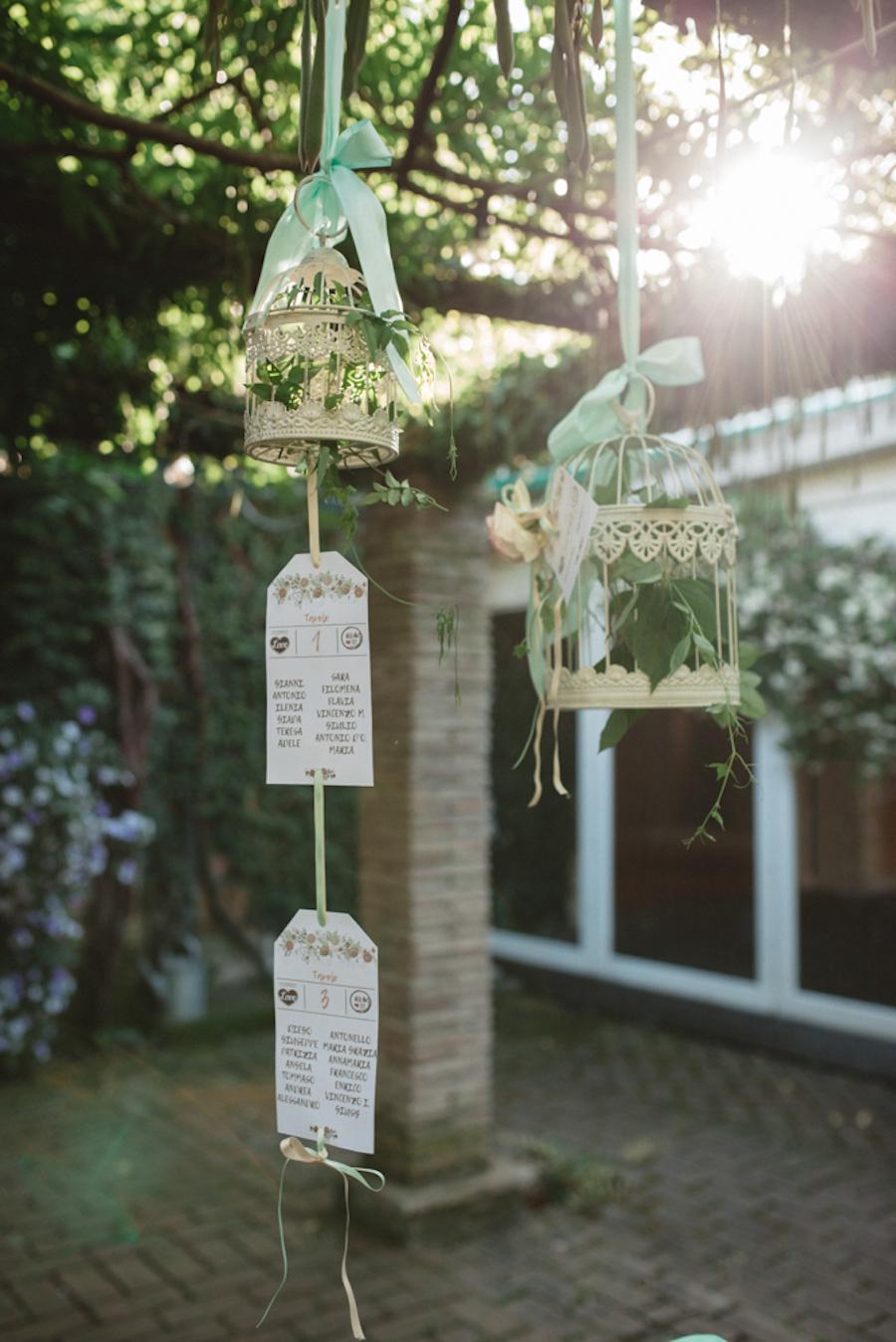 tableau de mariage con targhette vintage