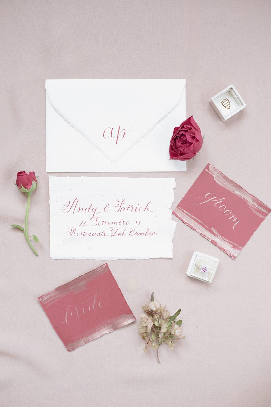 partecipazioni calligrafiche rosa
