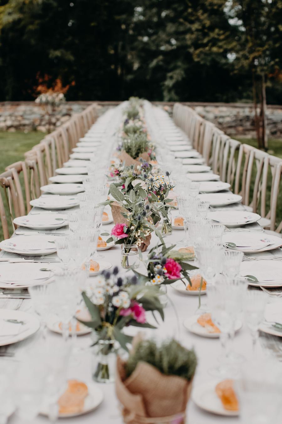 tavolo matrimonio bucolico