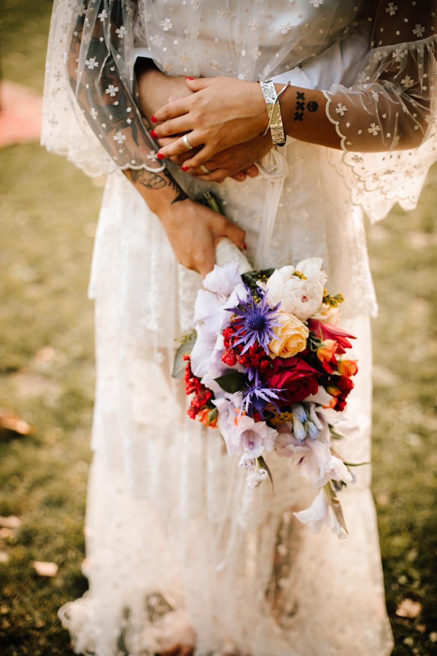 bouquet viola e rosso
