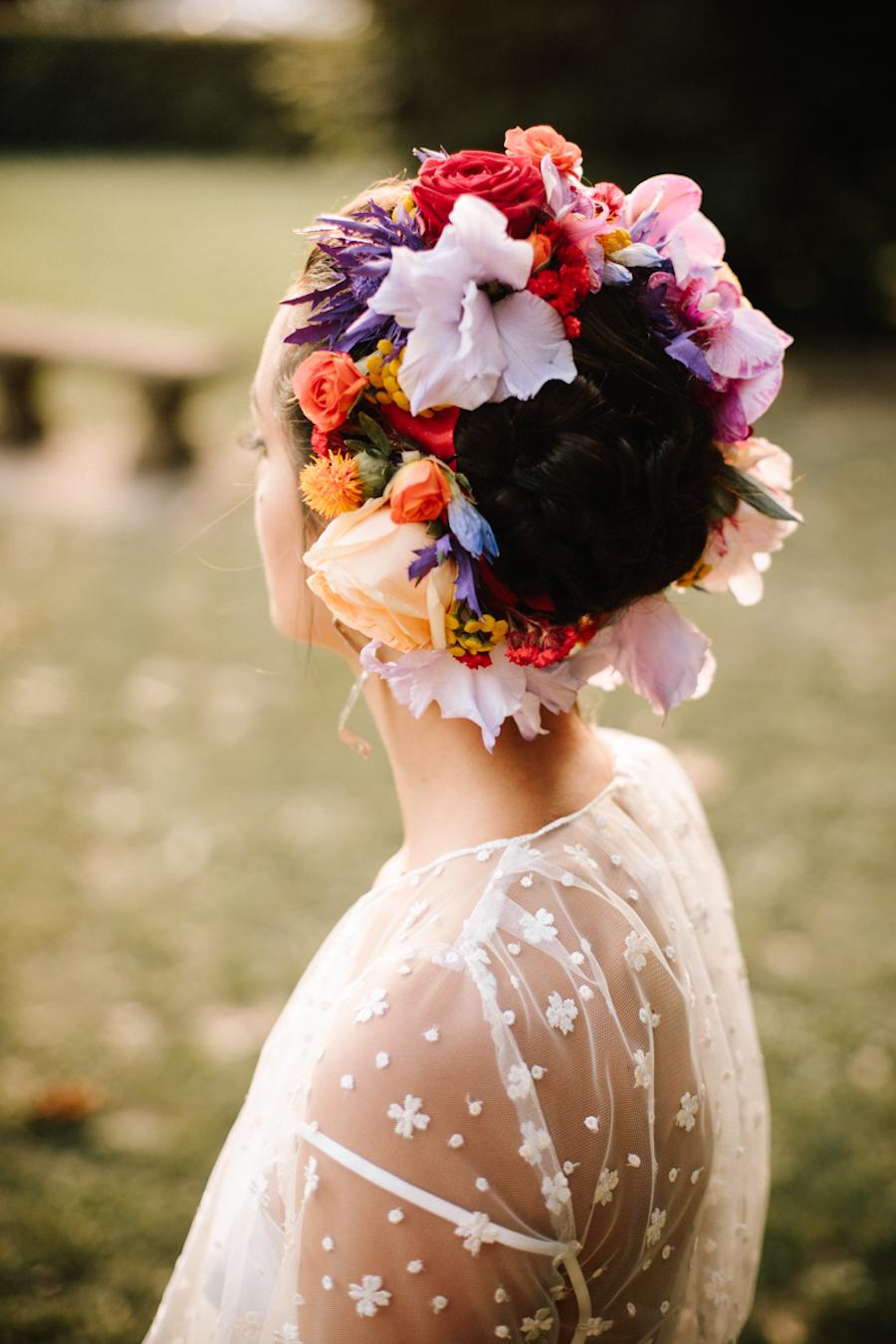 corona di fiori boho chic