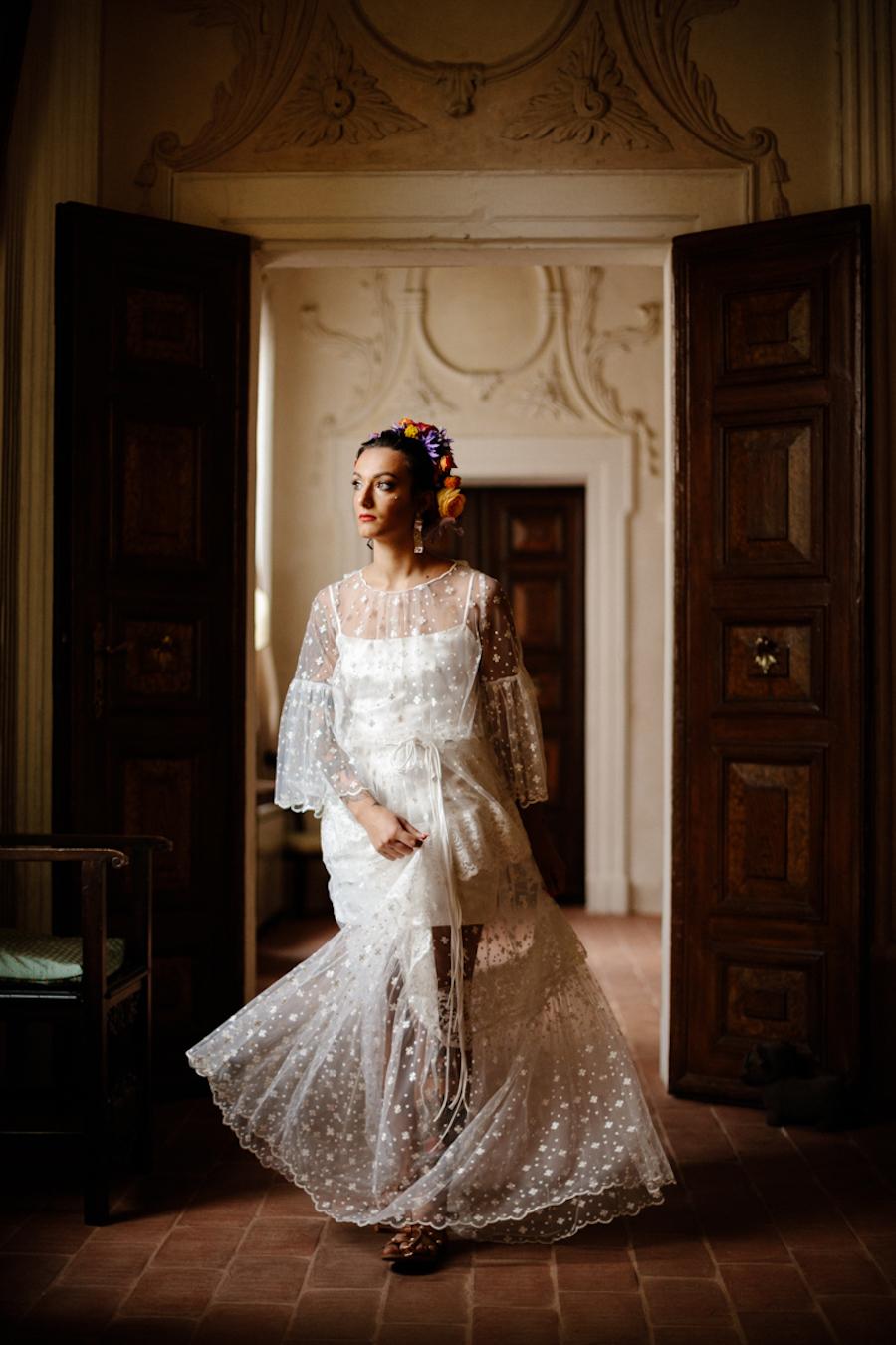 abito da sposa boho chic trasparente