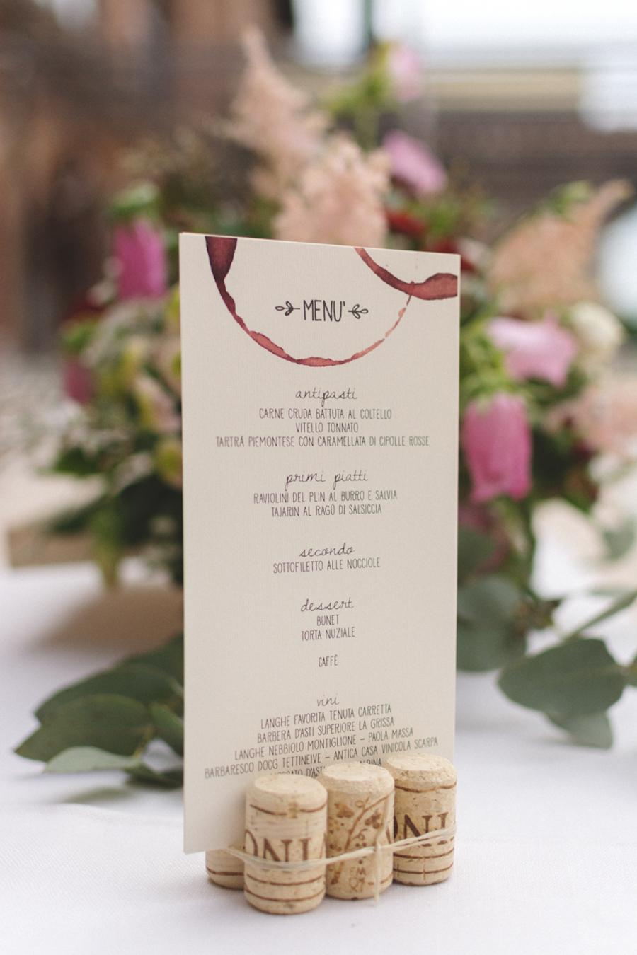 menù matrimonio ispirato al vino