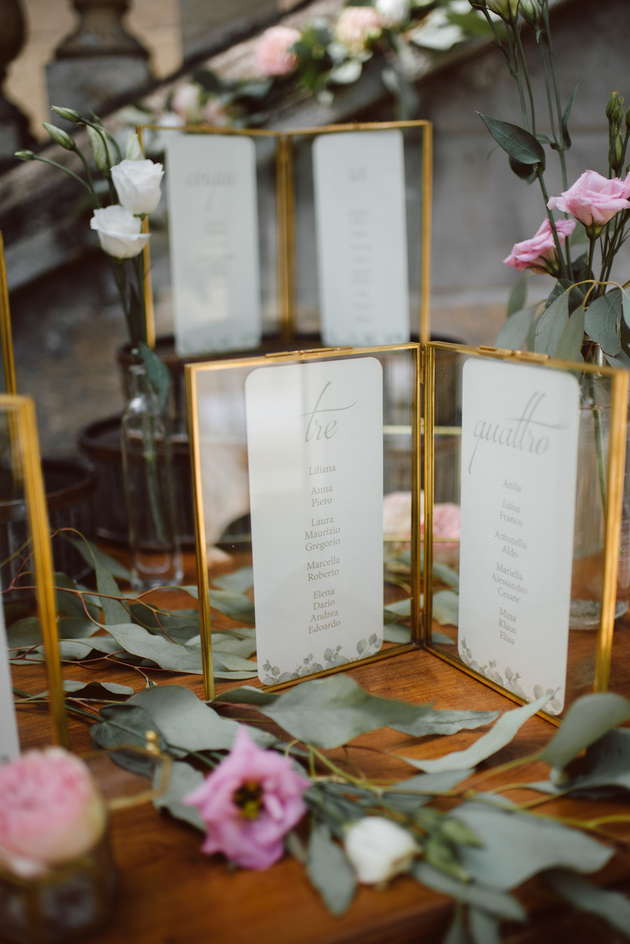 tableau de mariage con cornici oro