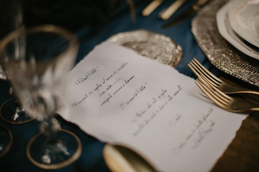 menù matrimonio scritto a mano