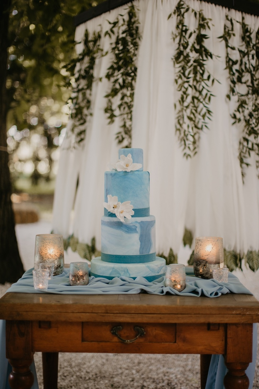 wedding cake azzurro acquerello