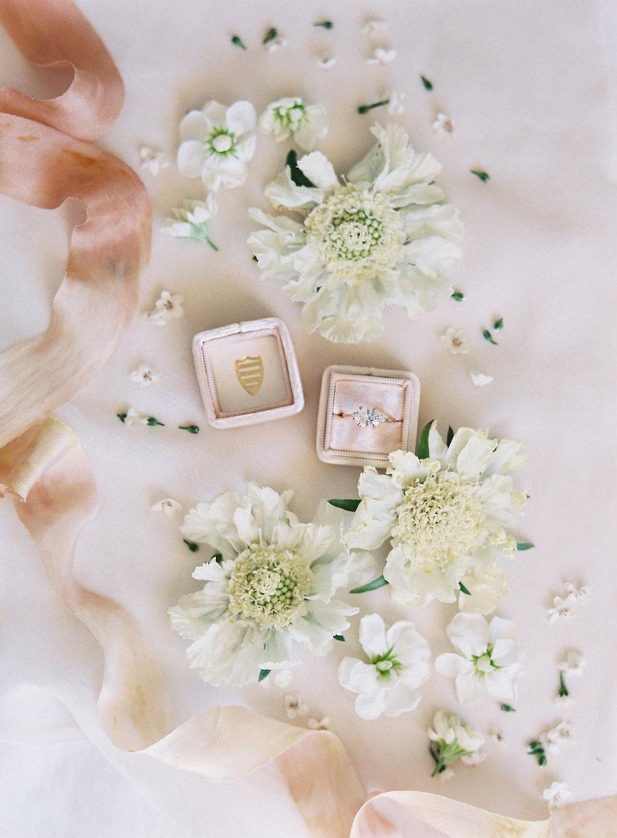 scatola anello in velluto rosa