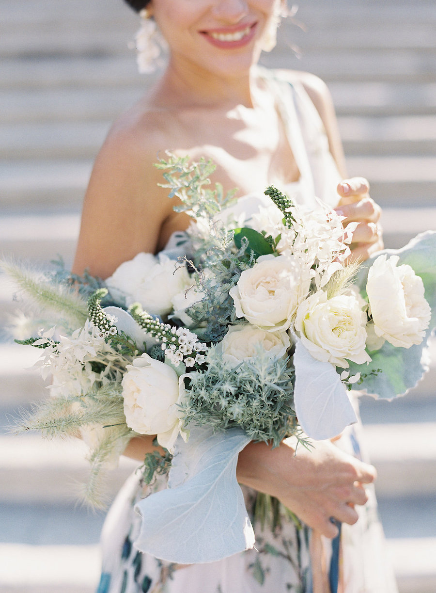 bouquet organico bianco e verde