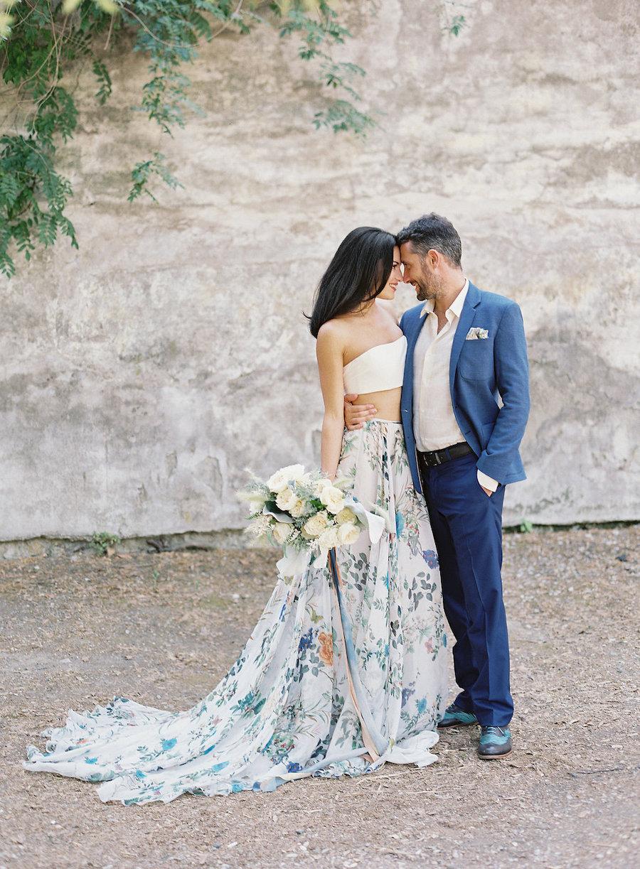 abito da sposa due pezzi a fiori