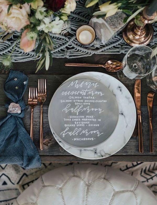 menù matrimonio a tema lunare