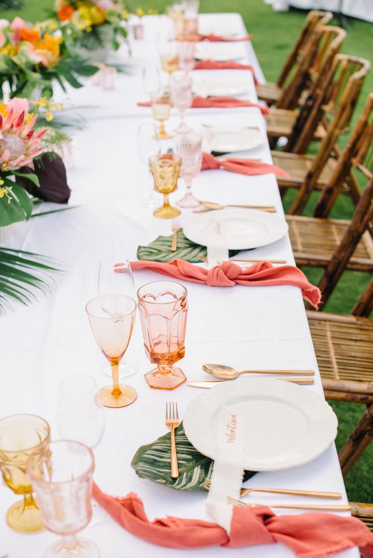 tavola matrimonio tropicale corallo