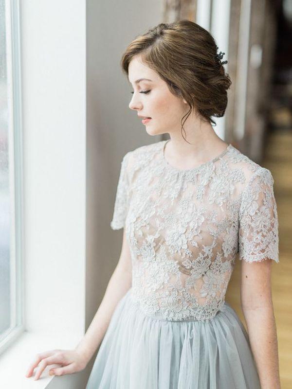 abito da sposa crop top azzurro